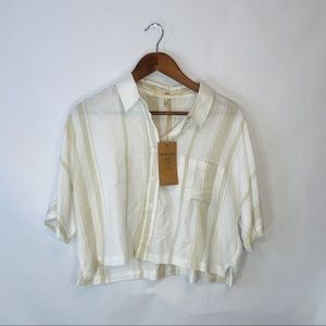 NWT thread & supply Cropped button down